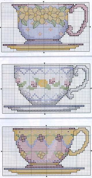 Tea cups cross stitch. Also good for plastic canvas designs!