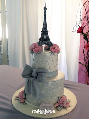 Elegant Parisian Cake...such a cool way to let everyone know where you'll be honeymooning or maybe a way to remember where he popped the question:0)