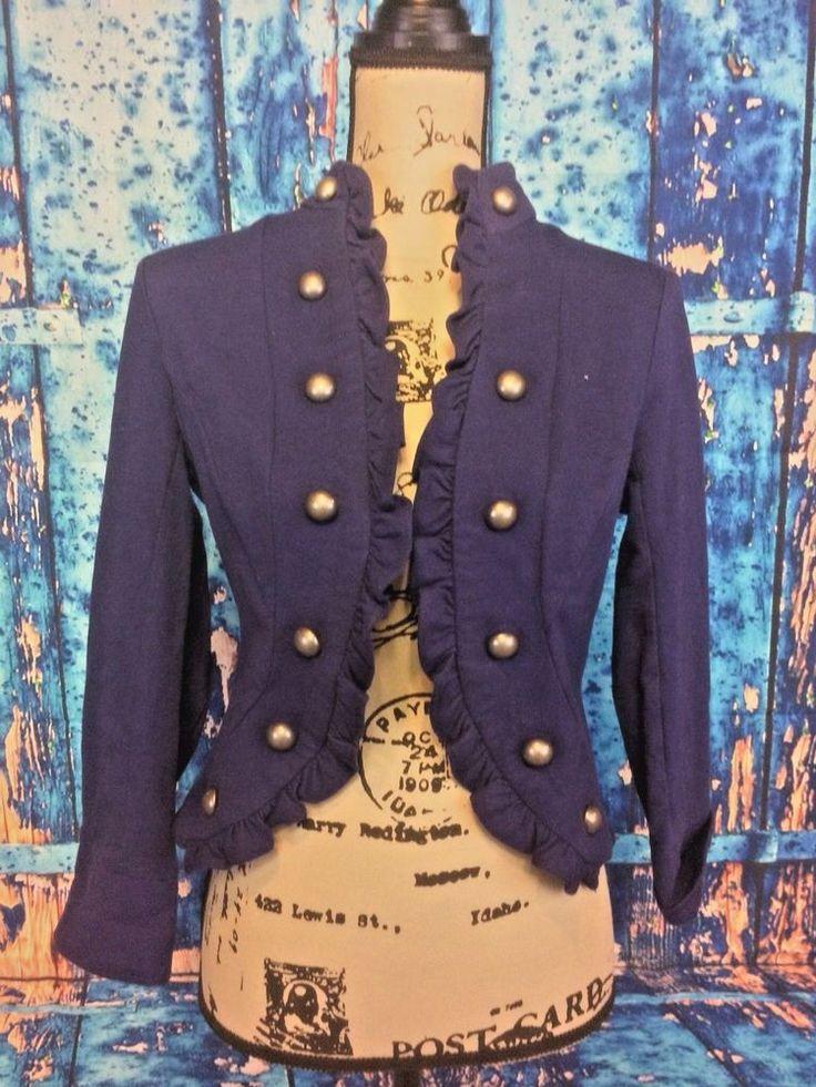 JohnPaulRichard Women's Size S Navy Blue Military Cut Style Sweater classic chic    eBay