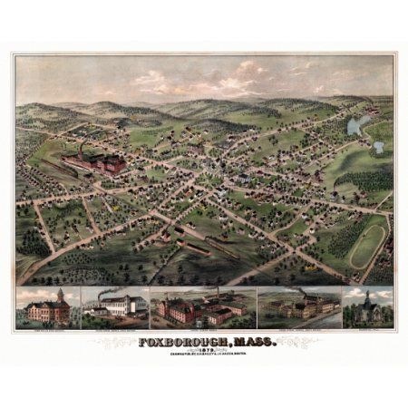 Historic Map of Foxborough Massachusetts 1879 Norfolk County Canvas Art - (36 x 54)