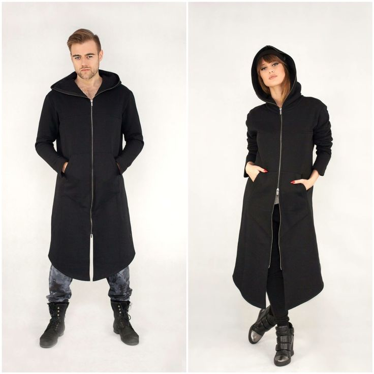 Zip Long Hoodies / Long Jackets / Black Long Hoodie Coat / Long Sweatshirt / Unisex / Oversize / Street Style / For Her / For Him / Couple Zip Long Hoodie Jackets EXPRES / Black Color