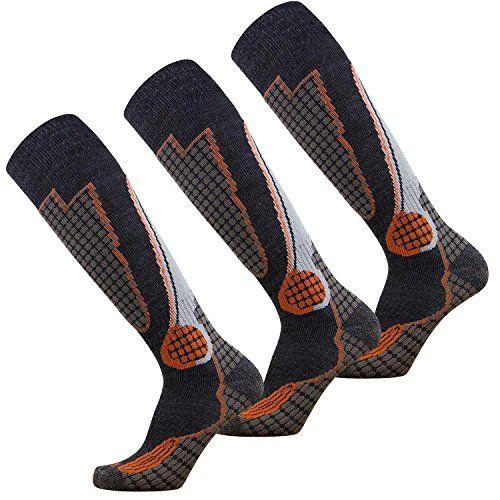 High Performance Wool Ski Socks – Outdoor Wool Skiing Socks, Snowboard Socks (Black/Grey/Orange - 3 Pack, Large).