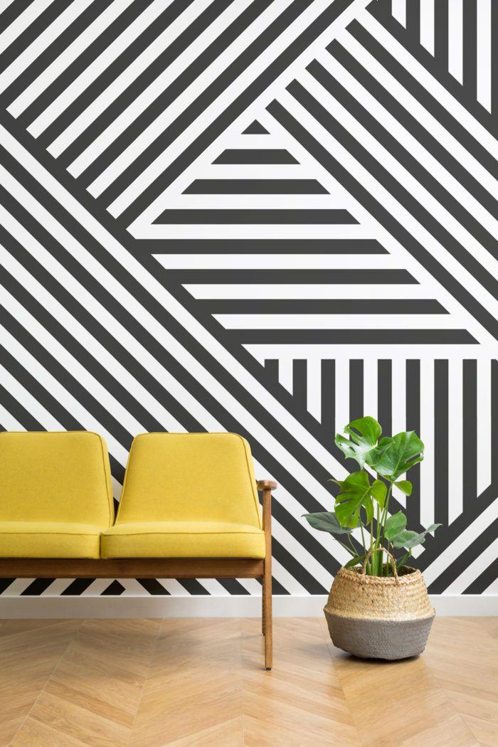 Divert Striped Geometric Wall Mural Geometric Wall Paint Wall