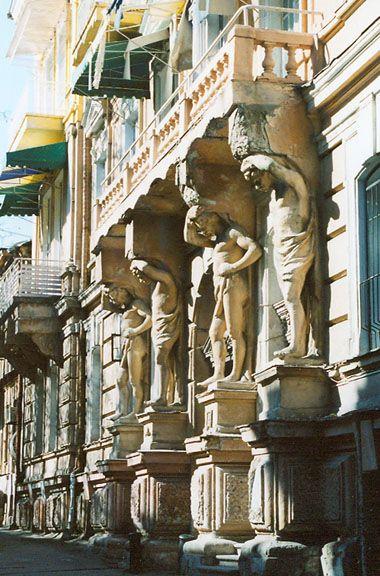 Atlantes on Gogol Street - Odessa City, Ukraine. Neo-classical