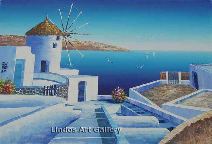 Greek Village and Windmill Oil Painting
