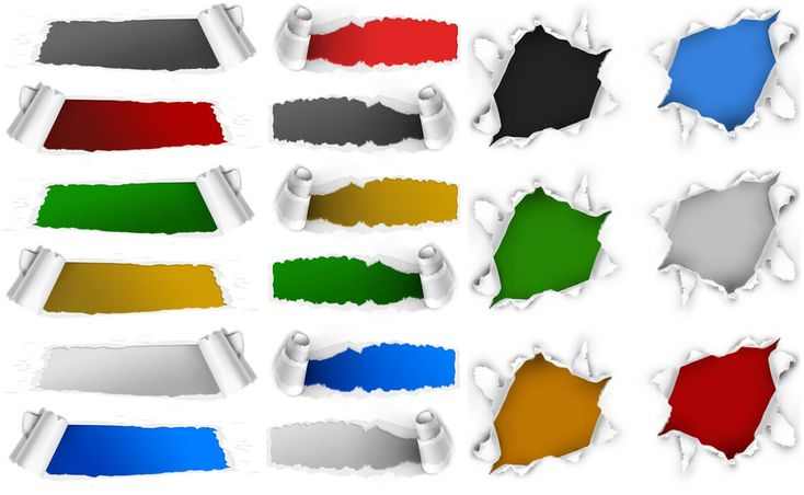 3 sets with 18 ripped paper holes PSD templates for Photoshop. Format: PSD Photoshop template. Free for download.