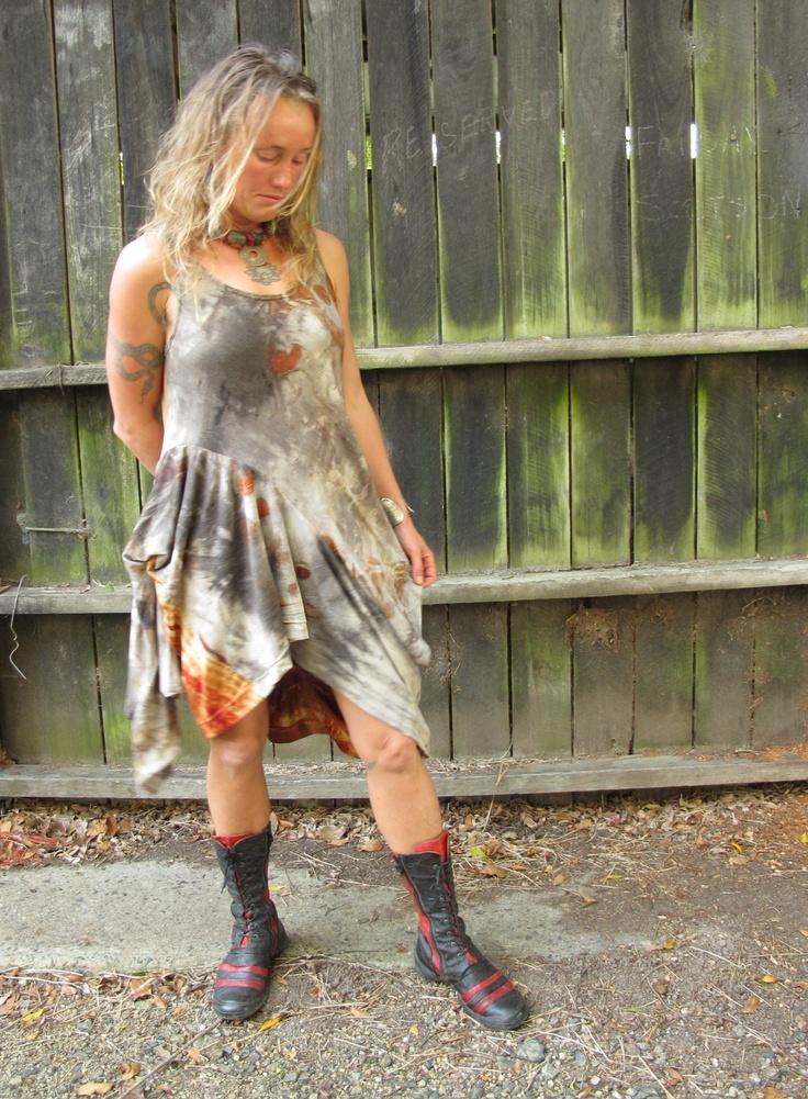 Wool jersey dress. Created by Susan Fell Mclean Gondwana Textiles Australia