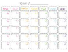 Calendario mensual en blanco, imprimible gratuito Blank monthly calendar free…