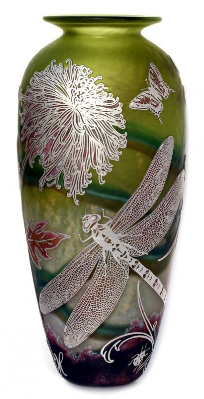 Jonathan Harris | Silver Cameo Olive Dragonfly.  Art-glass: Cut & etched crystal glass vase, Dragonfly and Butterfly with flowers, green iridescent and white glass.