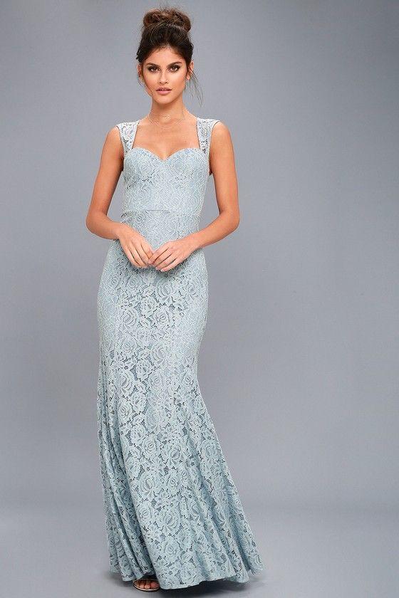 Rosetta Slate Blue Lace Maxi Dress 2