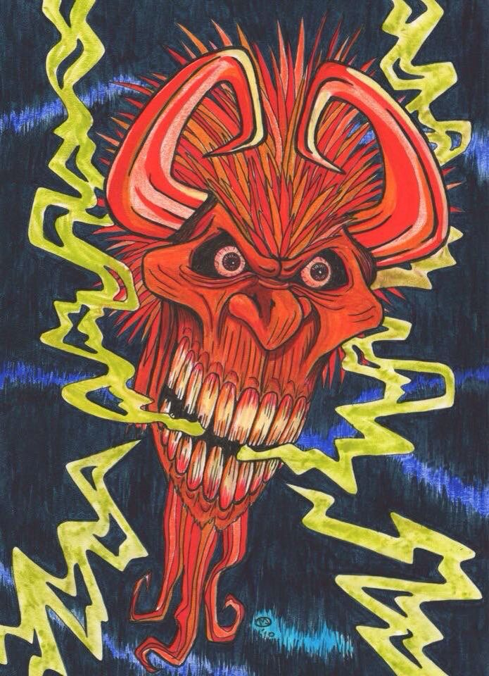 A rough Manga Demon's Head done for a colouring book I am creating