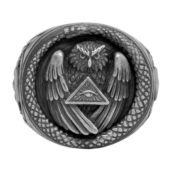 Illuminati All Seeing Eye Pyramid and Owl, sterling silver men's Masonic Skull ring Original unique design with beautiful details and amazing art work Rare piece, top quality, best craftsmanship, handmade, custom made Excellent new condition, very heavy, stamped 925 Top dimensions 22mm,