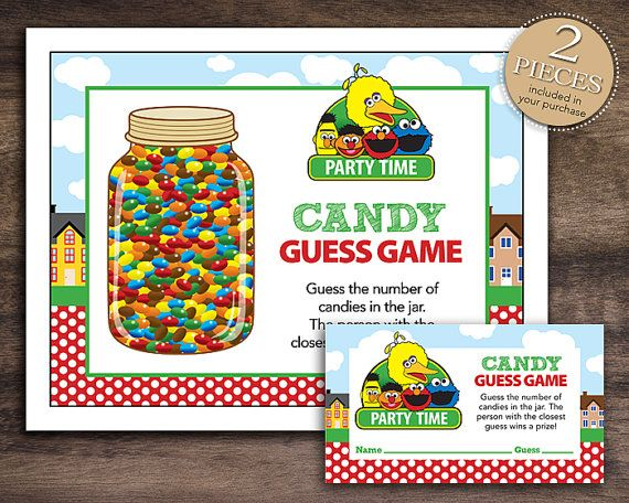 Amazing Instant Download Sesame Street Inspired Candy Guessing Game, Printable Baby  Shower Candy Guess Game,