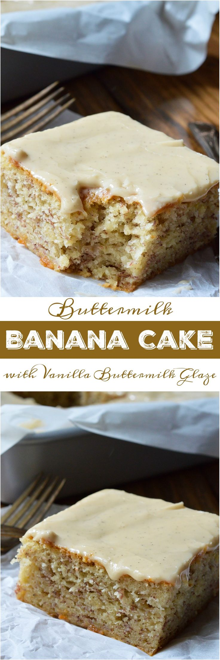 Do you have a few brown overripe bananas hanging out on your counter? If so, this Buttermilk Banana Cake Recipe with Vanilla Buttermilk Glaze must happen! This cake has the great flavor of banana bread with the perfect moist, cakey consistency. The Vanilla Buttermilk Glaze makes this cake the ultimate indulgent dessert! (ad)