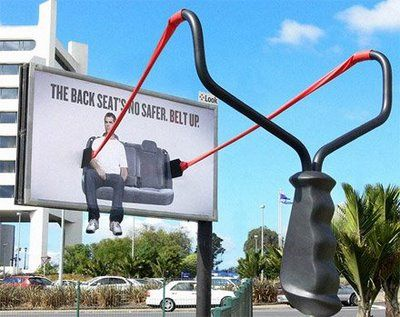 Seatbelt outdoor advertising