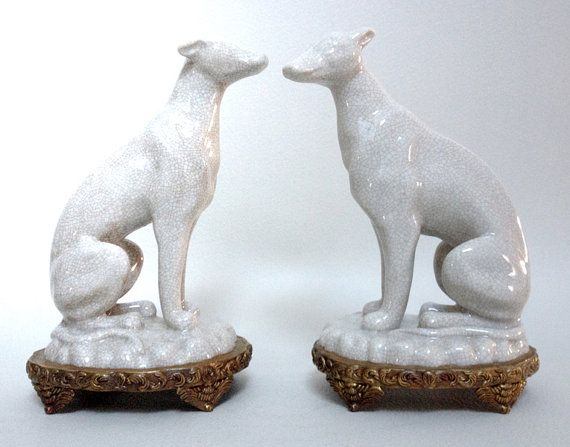 15% OFF Elegant Couple of Greyhounds in Crackled Faience on Bronze Chiselled Base - Art Deco Style