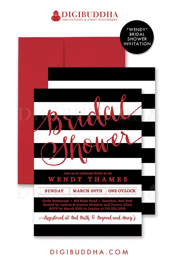 Black & white stripes bridal shower invitation with cherry red details. Choose from ready made printed invitations with envelopes or printable bridal shower invitations. Silver shimmer envelopes also available. digibuddha.com