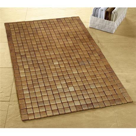Kleine Wolke   Mosaic Wood Bath Mat   500 X 700mm   Brown   5051