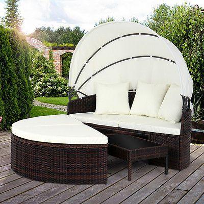Polyrattan Sonnenliege Gartenliege Liegestuhl Relaxliege Lounge mit Dach Liegesparen25.com , sparen25.de , sparen25.info