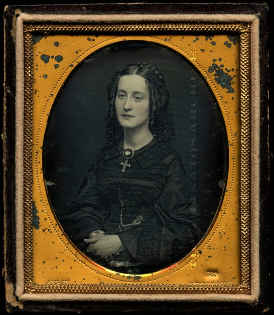 """Mrs. Maxwell    A sample from our """"Mourning and Memorial"""" section: Mrs. Catharine Maxwell in half-mourning. Daguerreotype, c.1853."""