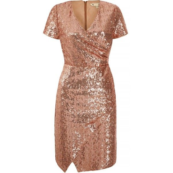 Yumi Sequined Wrap Dress ($115) ❤ liked on Polyvore featuring dresses, gold metallic, women, night out dresses, sequin wrap dress, v-neck sequin dresses, going out dresses and cocktail party dress