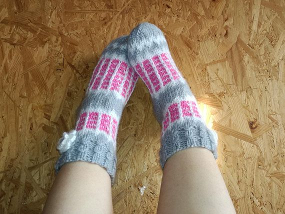 CASUAL Socks, Knit Socks, Hand Knitted Socks, Bulky Socks, Wool Socks, Multicolored Socks, Chunky Socks, Bed Socks, Boot Socks, Red Socks