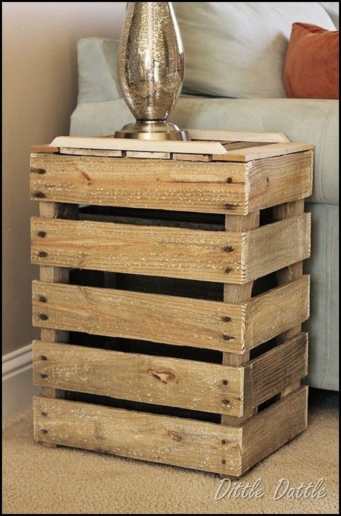 DIY side table. Looks like some kind of crate put on its side. (Hmm, I think I would clean it up a bit though. Maybe add some stain or paint.)