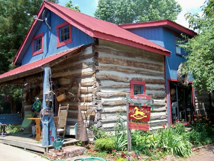 This old log cabin was moved to Augusta from Mason County in the 1970s, but it is now being used as an antique shop called Touch of Past.