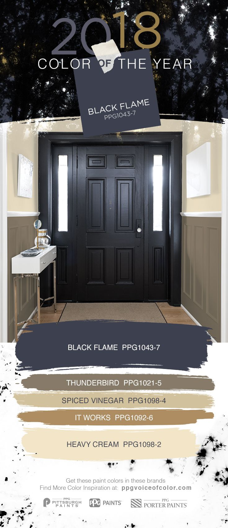 Black interior doors make a statement. Try the 2018 Color of the Year, Black Flame by PPG in your entryway.