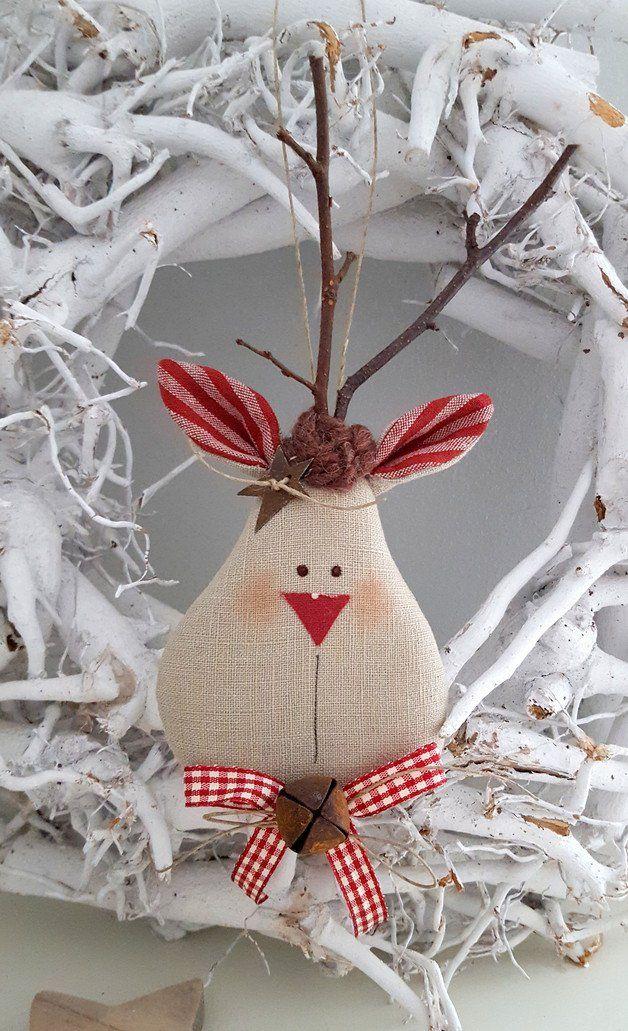Weihnachtsdeko: Süßer Weihnachtsbaumschmuck, kleiner Elch mit Glöckchen / cute christmas tree decoration: little moose with bell made by Feinerlei via DaWanda.com