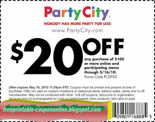 Party City Coupons Party City Party Printables Free Party