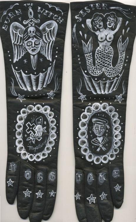 """Miss Take Sister"" 2012 acrylic on vintage gloves by Ellen Greene"