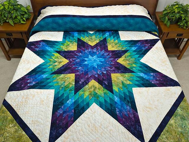 Lone Star Quilt with Plum and Moss (green) from Amish Country Quilts  Stunning Colours