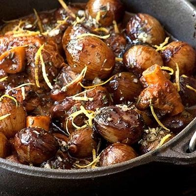 Lamb or venison potjie with baby onions   topped with onions and gremolata