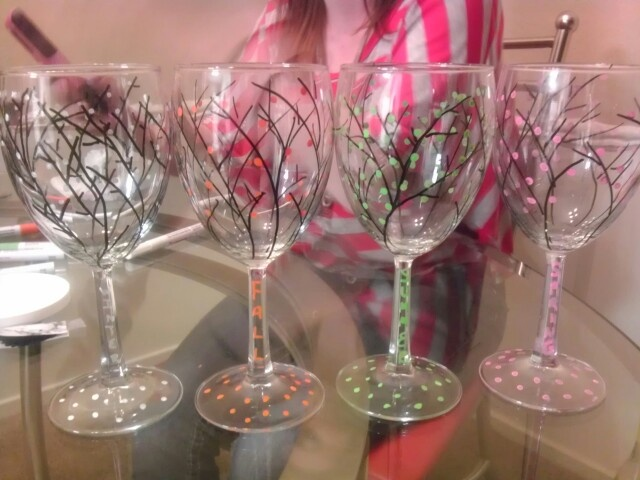 136 best crafts wine glass painting images on pinterest for How to decorate wine glasses with sharpies