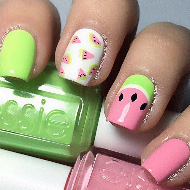 WatermelonNails requested by @jennaculp . Polishes are #EssiePolish Groove Is In The Heart and Vibrant Vibes  plus #Orly White Tips all from @hbbeautybar . I also used @snailvinyls  Circles.