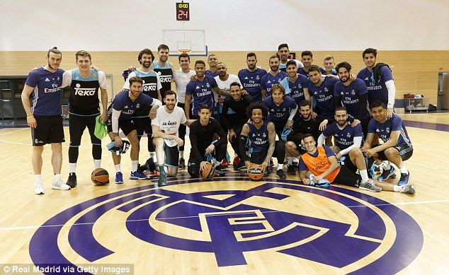 Gareth Bale (left) and his Real Madrid team-mates joined the club's basketball side on Tuesday