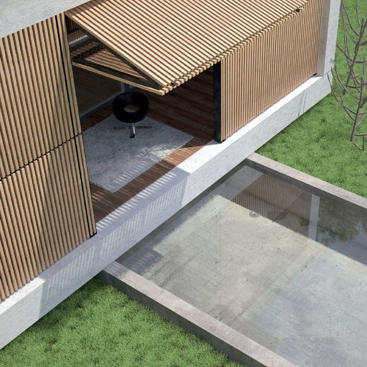Système de protection solaire pour façade en bois Brise-soleil en bois…