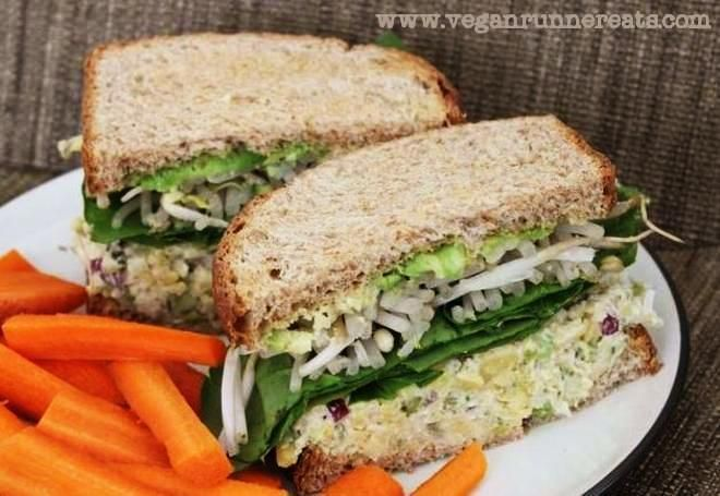 Chickpea Salad Sandwich - My Husband's Favorite Plant-Based Lunch. Flavor and texture are similar to tuna/chicken/egg salads.