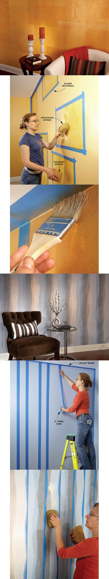 Transform a room in one weekend with one of these three creative painting and glazing techniques. All are easy-to-do, attractive and inexpensive. We will show you how at http://www.familyhandyman.com/DIY-Projects/Wall---Ceiling/Wall-Decorating/paint-pizzazz-decorative-painting-techniques/View-All