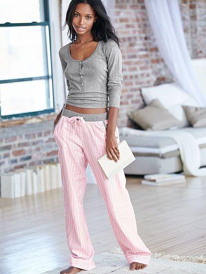 $39, medium, regular length, gray & pink lurex stripe -- The Dreamer Henley Pajama - Victoria's Secret