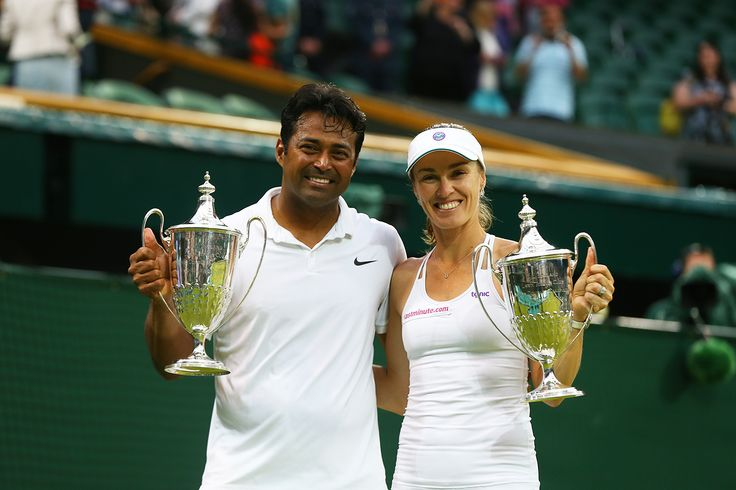 Martina Hingis and Leander Paes with the Mixed Doubles trophies