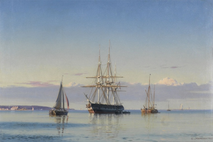 Carl Neumann (1833-1891): Frigate and sailing ships along the coastline, 1855