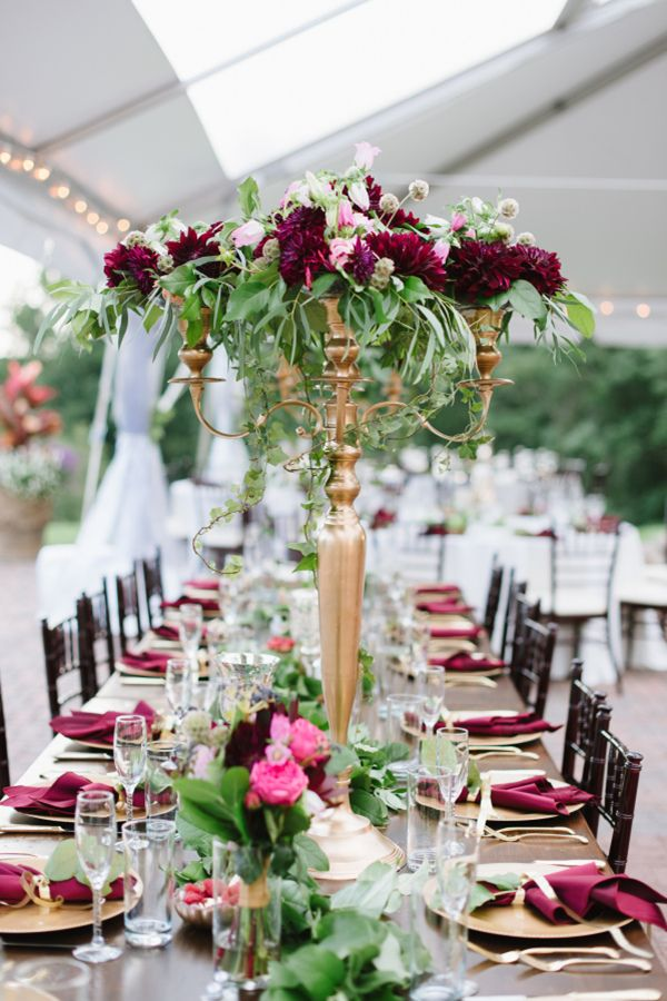 tall gold and marsala wedding centerpieces