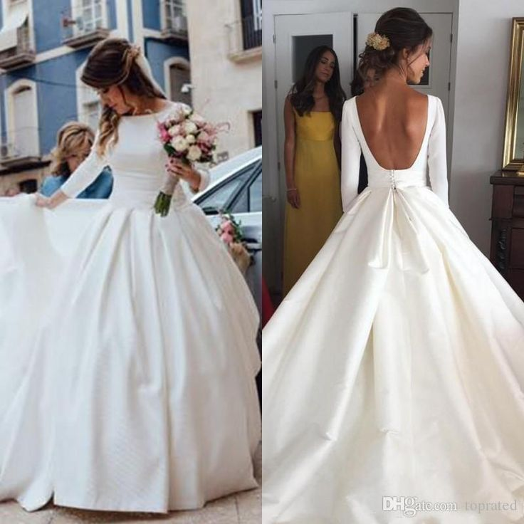 Discount 2018 Elegant Cheap Wedding Dresses New Fashion Bateau Satin A Line Long Sleeves Backless Wedding Dress Sweep Train Plus Size Bridal Gowns Maternity Wedding Dresses Modest Wedding Dresses From Toprated, $116.06  DHgate.Com