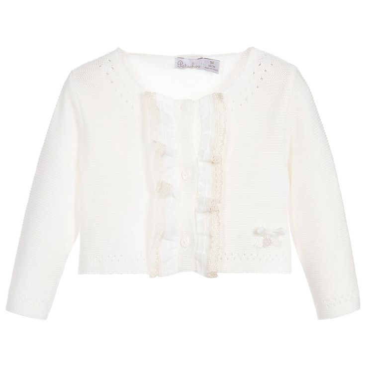 Patachou Baby Girl Ivory Knitted Crop Cardigan at Childrensalon.com