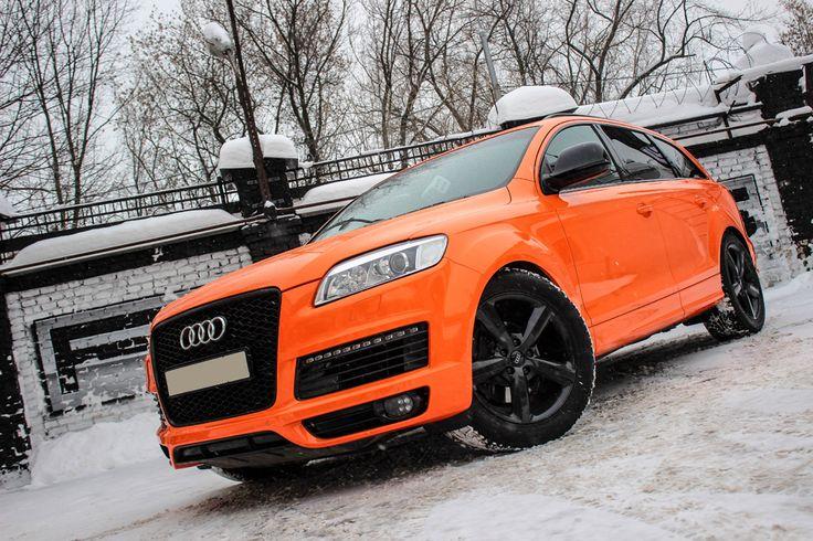 Audi Q Orange Glance Wrap Оклейка Audi Q оранжевым глянцем по - Audi q 745 car