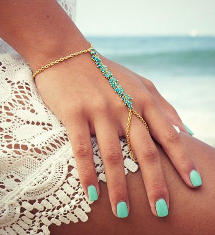 Turquoise hand chain.......I like these.  Have one in orange!