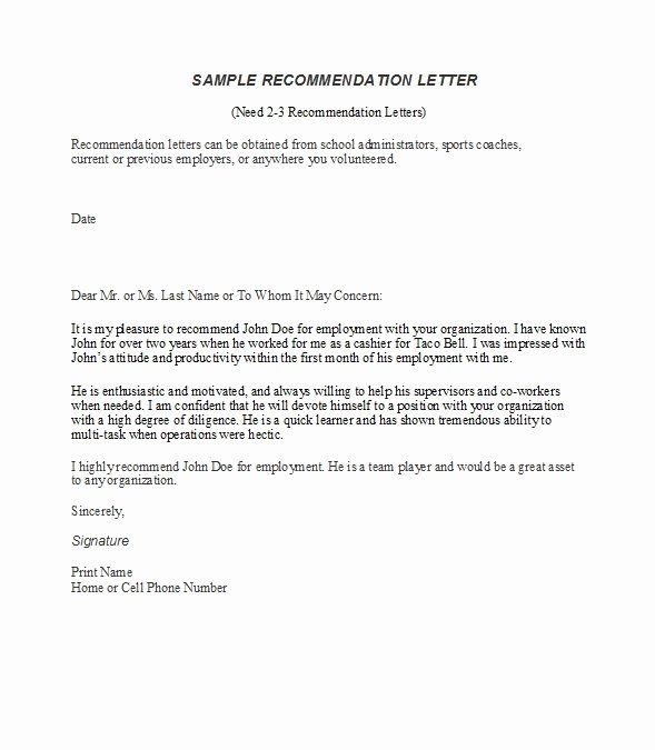 40 Letter Of Recommendation Templates Free In 2020 Letter Of