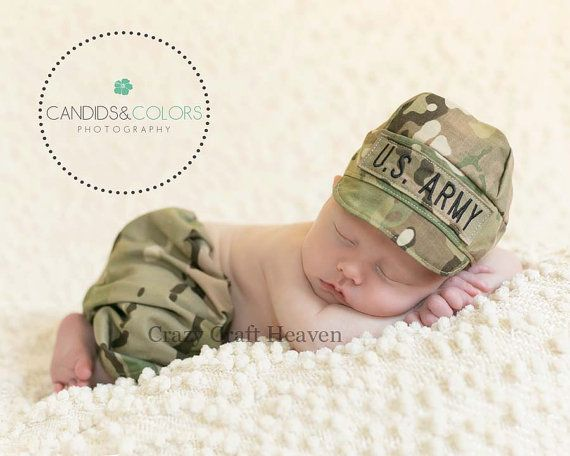 Baby Multicam Outfit Army hat and pants set by CrazyCraftHeaven